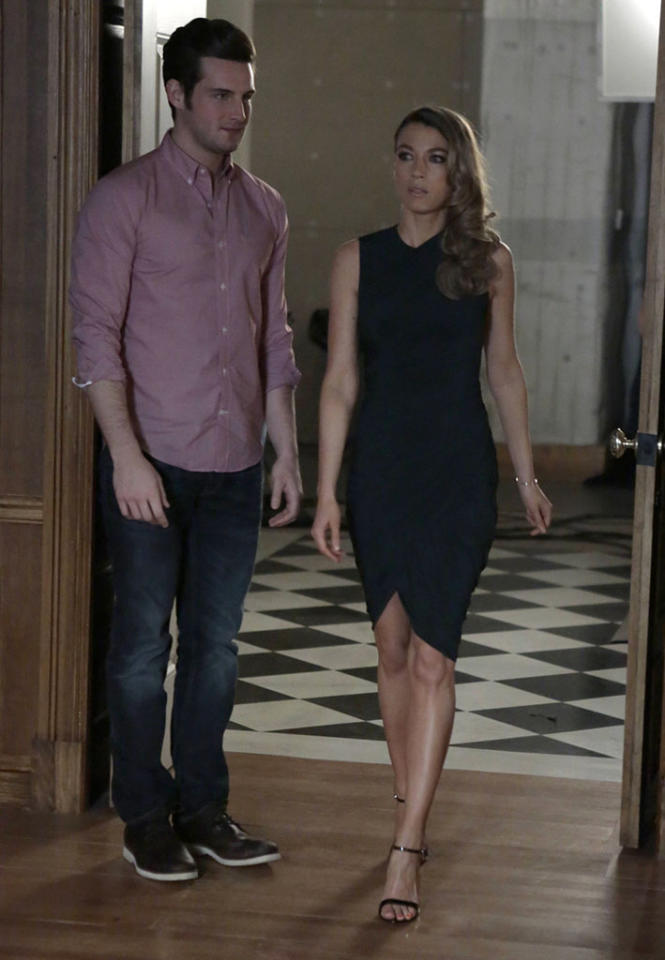 """Jacob (Nico Tortorella) brings Claire (Natalie Zea) to Joe in the """"Whips & Regret"""" episode of """"The Following."""""""