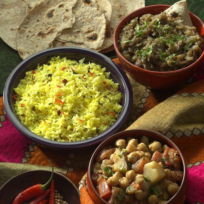 <p>In southern India, this fragrant dish is served during the harvest season. We've made it the traditional way using white rice (though brown rice is nutritionally superior, it is rarely used in India because the oils in the bran cause it to deteriorate faster, reducing its shelf life). If you are committed to eating only whole grains, you can use brown basmati rice (see Variation).</p>