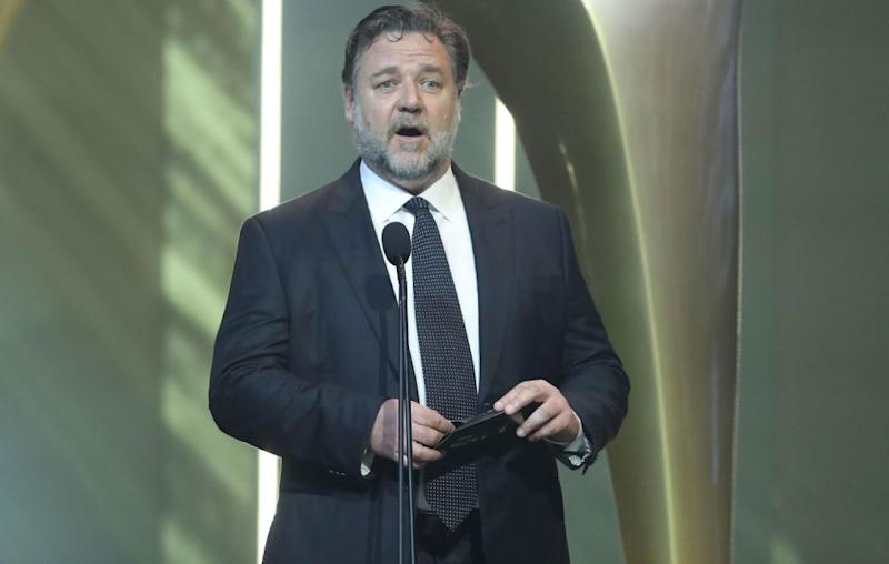 Russell Crowe proudly took to the stage on Wednesday night at the 2017 AACTA Awards to present the first ever Best Asian Film Award. Source: Getty