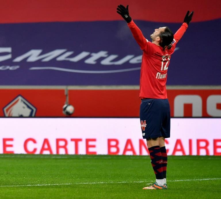 Yazici celebrates his first-half goal, which proved to be the winner