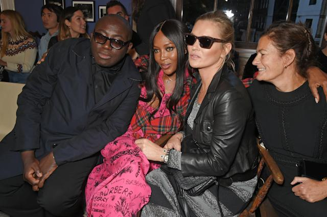 From left, British <em>Vogue</em> editor Edward Enninful, model Naomi Campbell, model Kate Moss, and British <em>Vogue</em> fashion director Venetia Scott. (Photo: Getty Images)