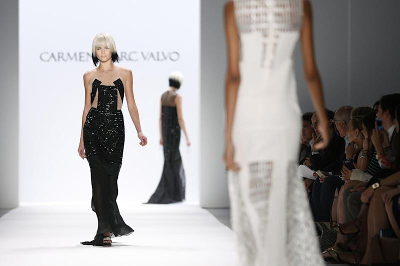 The Carmen Marc Valvo Spring 2014 collection is modeled during Fashion Week in New York, Friday, Sept. 6, 2013. (AP Photo/John Minchillo)