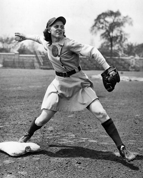 This undated image provided by the AAGPBL Players Association, Inc. shows Racine Belle baseball player Sophie Kurys. Kurys, who stole 201 bases in 1946 while playing in the All American Girls Professional Baseball League, has died. She was 87. The AAGPBL Players Association said Wednesday, Feb. 20, 2013, that she died Sunday, Feb. 17, after complications from surgery. (AP Photo/AAGPBL Players Association, Inc.)