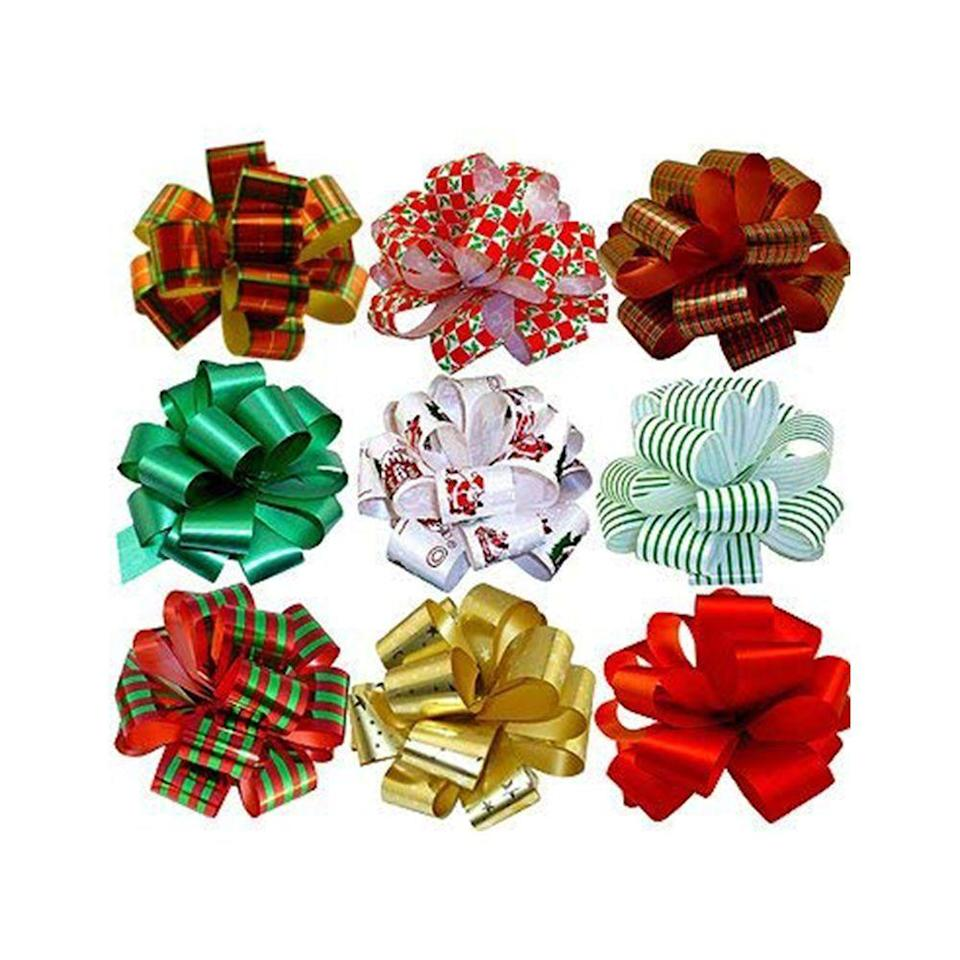 "<p><strong>GiftWrap Etc.</strong></p><p>amazon.com</p><p><strong>$13.95</strong></p><p><a href=""https://www.amazon.com/dp/B00FMDDBU6?tag=syn-yahoo-20&ascsubtag=%5Bartid%7C10070.g.35058456%5Bsrc%7Cyahoo-us"" rel=""nofollow noopener"" target=""_blank"" data-ylk=""slk:Shop Now"" class=""link rapid-noclick-resp"">Shop Now</a></p><p>Never throw away holiday or gifting bows! Hold onto them so you can use them the next time you're wrapping gifts. If the adhesive isn't strong enough, just use a piece of tape to keep the bow attached to the present. </p>"