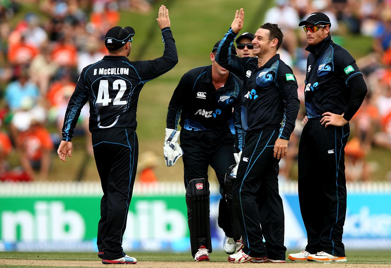 HAMILTON, NEW ZEALAND - JANUARY 08: Nathan McCullum of New Zealand celebrates his LBW of  Kieran Powell of the West Indies during game five of the One Day International Series between New Zealand and the West Indies at Seddon Park on January 8, 2014 in Hamilton, New Zealand.  (Photo by Phil Walter/Getty Images)