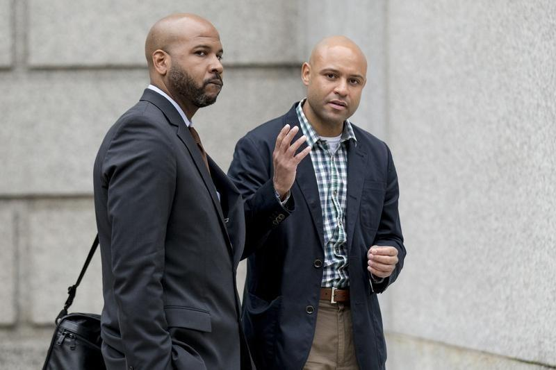 sbusiDaryl Payton Jr. and Benjamin Durant III talk following their insider trading hearing at the U.S. District Court house in New York