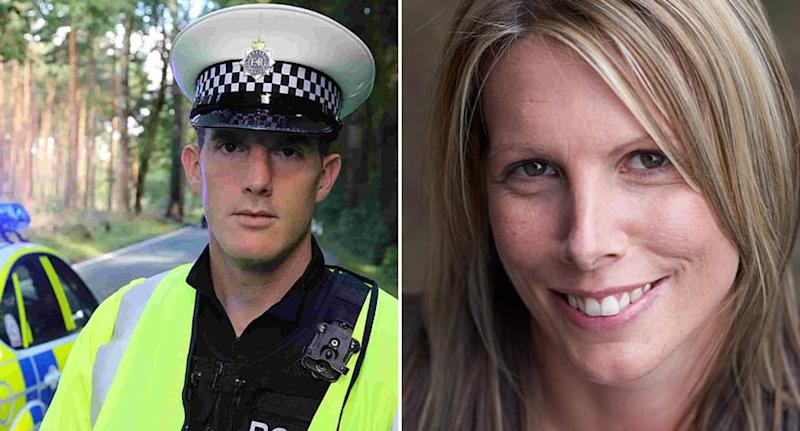 Pictured left is Timothy Brehmer, 41, in his police uniform. Right is nurse Claire Parry.