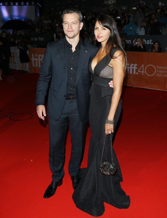 "<p>If this couple wasn't already cute, the matching outfits added another level of adorableness. Matt Damon and Luciana Barroso coupled up at ""The Martian"" premiere during the 2015 Toronto International Film Festival wearing black ensembles.</p>"