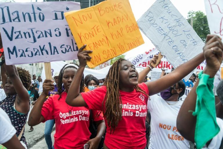 Haitians march in Port-au-Prince to commemorate the national day of the Haitian women's movement and denounce violence on April 3, 2021