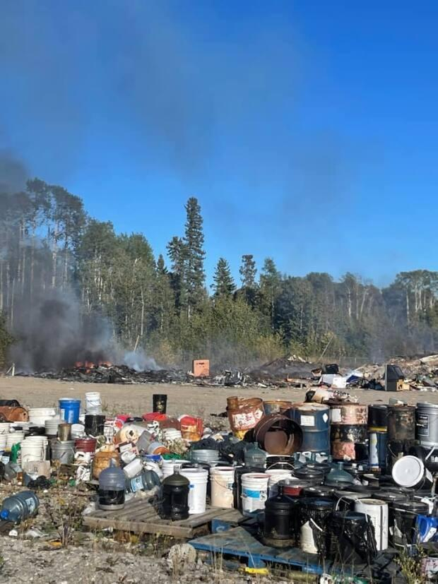 John McKee, the senior administrative officer in Fort Liard, N.W.T., said a dump fire burned itself out after a couple of hours on Thursday. (Submitted - image credit)