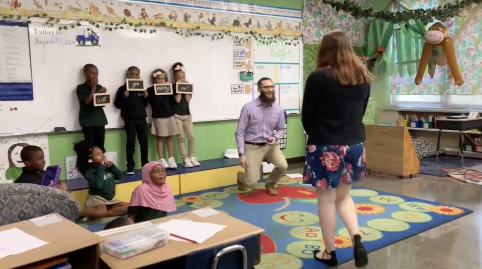 A special-education teacher got engaged her classroom among 20 of her students. (Screenshot: Facebook/EastSide Charter School)
