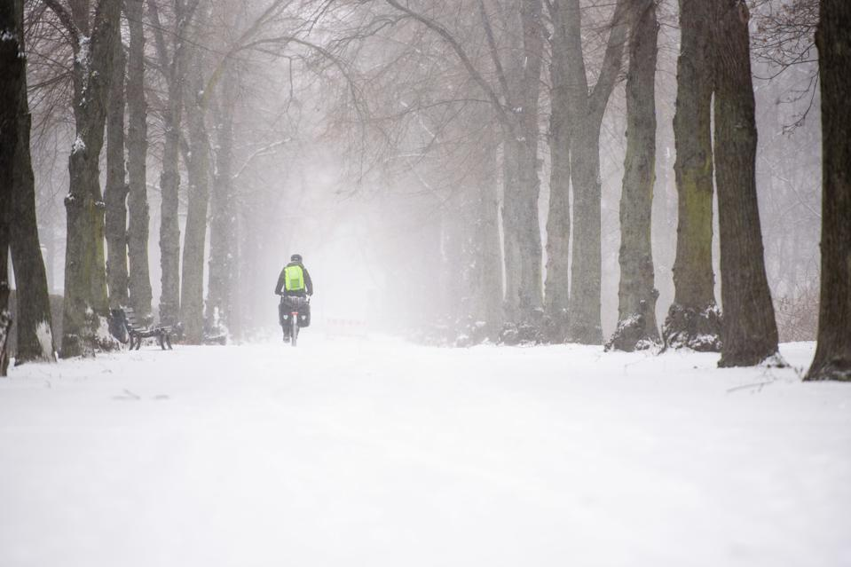 Germany, Berlin, February 08, 2021: A cyclist can be seen in Tiergarten Park during snowfall in Central Berlin. The German Weather Service warns of heavy snowfall with wind drifts at temperatures reaching levels well below the freezing point. (Photo by Jan Scheunert/Sipa USA)