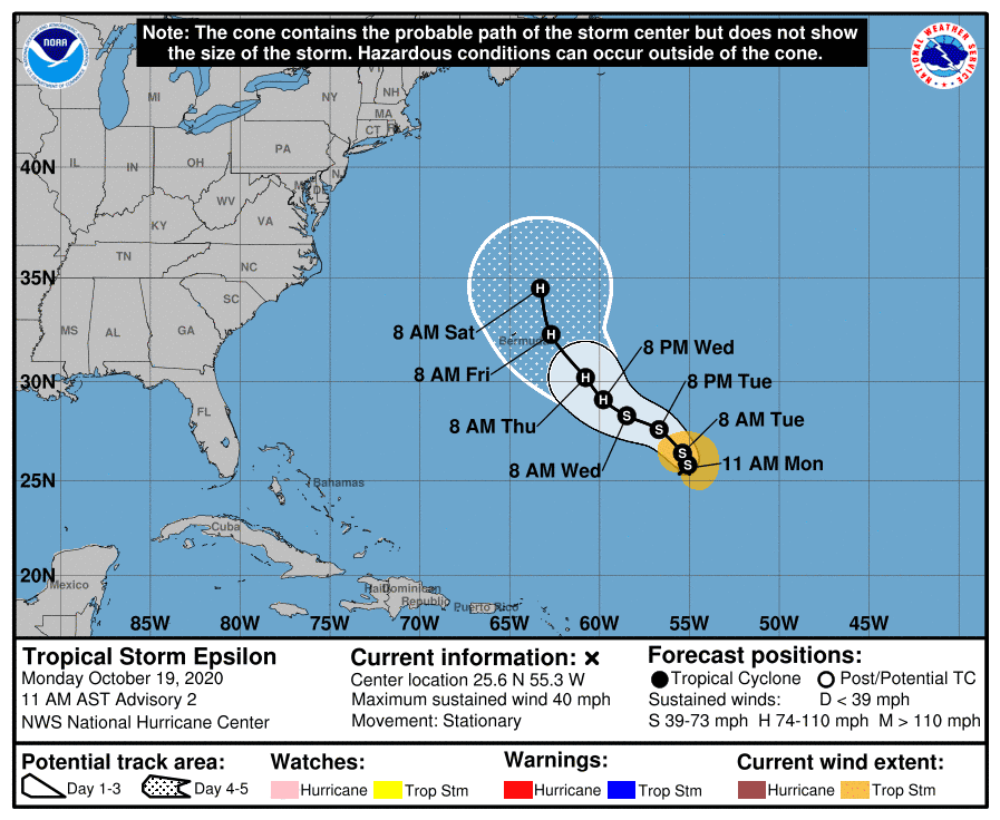 The forecast track of Tropical Storm Epsilon shows it approaching Bermuda as a hurricane later this week.