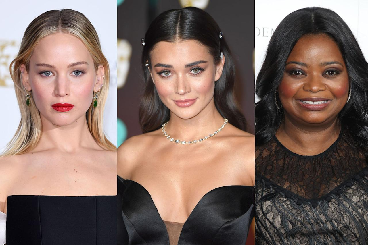 <p>Jennifer Lawrence, Amy Jackson, and Octavia Spencer all rocked their own fierce versions of middle parts. (Photo: Getty Images) </p>