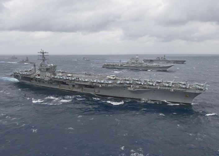 Aircraft carrier the USS Nimitz, now on patrol in the Gulf, takes part in an exercise in the Bay of Bengal in July 2017 (AFP Photo/Cole SCHROEDER)