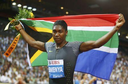 Athletics - IAAF Athletics Diamond League meeting Zurich -  Letzigrund stadium, Zurich, Switzerland - 1/9/2016 - Caster Semenya of South Africa celebrates after winning the 800m women.      REUTERS/Arnd Wiegmann