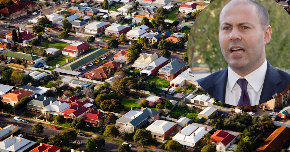 Aerial view of Australian suburb with image of Josh Frydenberg
