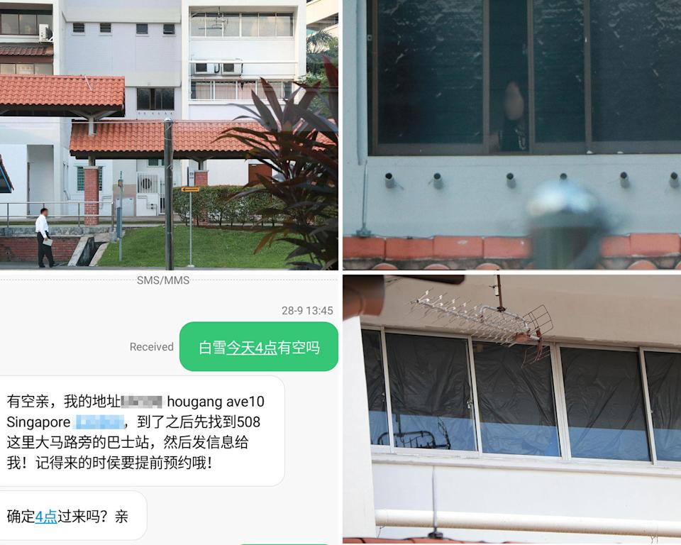 """Clockwise from top left: A """"customer"""" (in white) awaits his turn at the bus stop below the unit where the suspected vice activities are carried out; a woman seen in the unit; the covered up windows of the unit's upper floor; and a text message from one of the alleged prostitutes containing directions to the Hougang flat. (PHOTOS: Dhany Osman / Yahoo News Singapore)"""