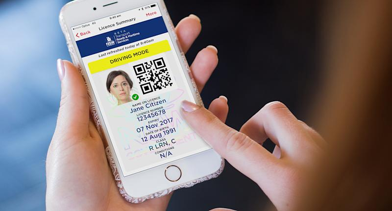 A digital drivers license on a person's phone.
