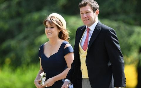 Princess Eugenie of York and her long-term boyfriend Jack Brooksbank arriving at St Mark's church in Englefield, Berkshire, for the wedding of Pippa Middleton and James Matthews - Credit: Justin Tallis/PA