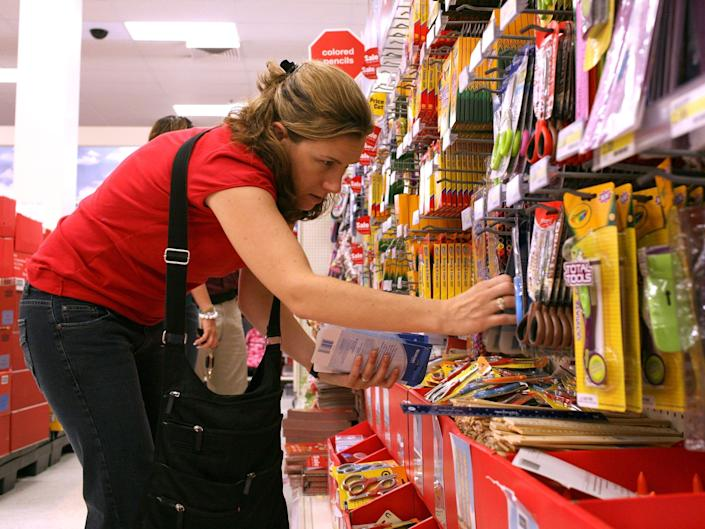 Woman shops for school supplies