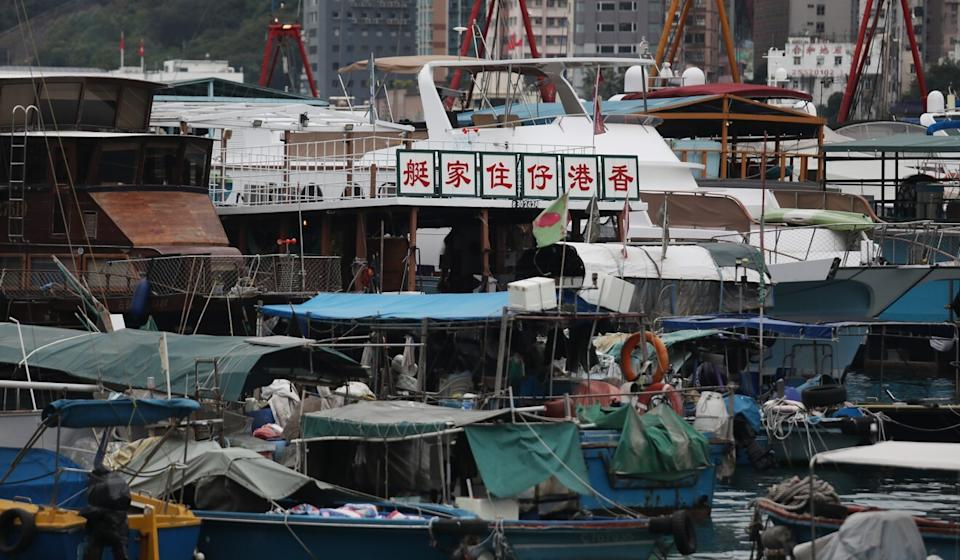 Houseboats are seen floating in the Aberdeen South Typhoon Shelter. Photo: Xiaomei Chen