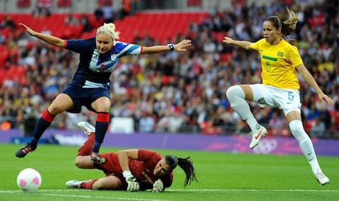<span>During the 2012 Olympics, 70,584 watched Great Britain beat Brazil 1-0</span> <span>Credit: GETTY IMAGES </span>