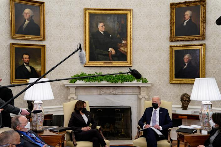 President Joe Biden  and Vice President Kamala Harris meet with members of Congress in the Oval Office at the White House on April 12, 2021 in Washington, DC. President Biden and the bipartisan group of politicians discussed the American Jobs Plan, the administration's $2 trillion infrastructure proposal.