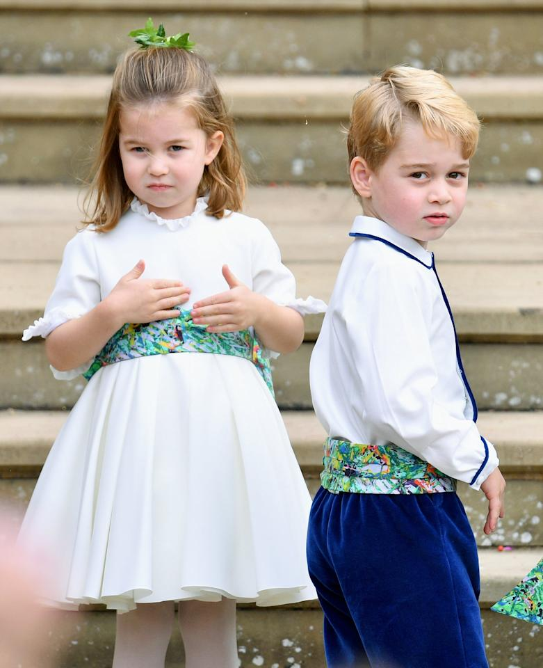 """<p><a href=""""https://www.popsugar.com/celebrity/Princess-Eugenie-Bridesmaids-Pageboys-Pictures-45310657"""" class=""""ga-track"""" data-ga-category=""""Related"""" data-ga-label=""""http://www.popsugar.com/celebrity/Princess-Eugenie-Bridesmaids-Pageboys-Pictures-45310657"""" data-ga-action=""""In-Line Links"""">Princess Charlotte and Prince George were front and center for Eugenie's wedding</a>, so we wouldn't be surprised if they reprised their bridesmaid and pageboy duties for Beatrice's <a class=""""sugar-inline-link ga-track"""" title=""""Latest photos and news for wedding"""" href=""""https://www.popsugar.com/Wedding"""" target=""""_blank"""" data-ga-category=""""Related"""" data-ga-label=""""https://www.popsugar.com/Wedding"""" data-ga-action=""""&lt;-related-&gt; Links"""">wedding</a>. It's also likely that Edo's son will serve as a pageboy in the wedding.<span></span><br></p>"""