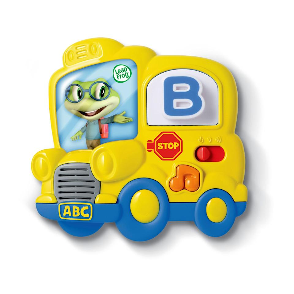 """<p><strong>LeapFrog</strong></p><p>walmart.com</p><p><strong>$19.99</strong></p><p><a href=""""https://go.redirectingat.com?id=74968X1596630&url=https%3A%2F%2Fwww.walmart.com%2Fip%2F36610856&sref=https%3A%2F%2Fwww.goodhousekeeping.com%2Fchildrens-products%2Ftoy-reviews%2Fg26670041%2Feducational-toys-for-toddlers%2F"""" rel=""""nofollow noopener"""" target=""""_blank"""" data-ylk=""""slk:Shop Now"""" class=""""link rapid-noclick-resp"""">Shop Now</a></p><p>Compatible with any magnetic surface, this set features interactive alphabet tiles. Placing a letter on the bus window enables your kids to hear the letter and related words. Plus, it <strong>includes fun, kid-friendly songs like the """"Alphabet Song""""</strong> and """"Wheels on the Bus."""" <em>Ages 2+</em><br></p>"""
