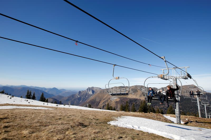 Closed ski slopes due to lack of snow are pictured at the ski resort of The Mourtis in Boutx