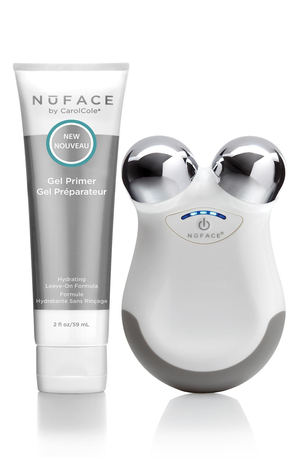 """<h3><strong>NuFace</strong> Mini Facial Toning Device</h3><br><br>Just in case your dad wants a touch-up between his Botox appointments — yes, <a href=""""https://www.refinery29.com/en-us/male-plastic-surgery-stories"""" rel=""""nofollow noopener"""" target=""""_blank"""" data-ylk=""""slk:dads get injectables"""" class=""""link rapid-noclick-resp"""">dads get injectables</a>, too — there's this face-lifting micro-current tool. It's so no-fuss that he can do it while he lays in bed and watches another <em>Law & Order: Special Victims Unit</em> rerun.<br><br><strong>NuFACE</strong> mini Facial Toning Device, $, available at <a href=""""https://go.skimresources.com/?id=30283X879131&url=https%3A%2F%2Fshop.nordstrom.com%2Fs%2Fnuface-mini-facial-toning-device%2F5254718%3Forigin%3Dcategory-personalizedsort%26breadcrumb%3DHome%252FMen%252FGrooming%2520%2526%2520Cologne%252FGifts%2520%2526%2520Sets%26color%3Dwhite"""" rel=""""nofollow noopener"""" target=""""_blank"""" data-ylk=""""slk:Nordstrom"""" class=""""link rapid-noclick-resp"""">Nordstrom</a>"""
