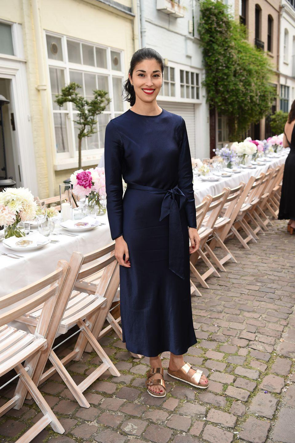 <p>The fashion director wore a Catherine Quinn dress with Birkenstocks to the Women of Purpose dinner party.</p>