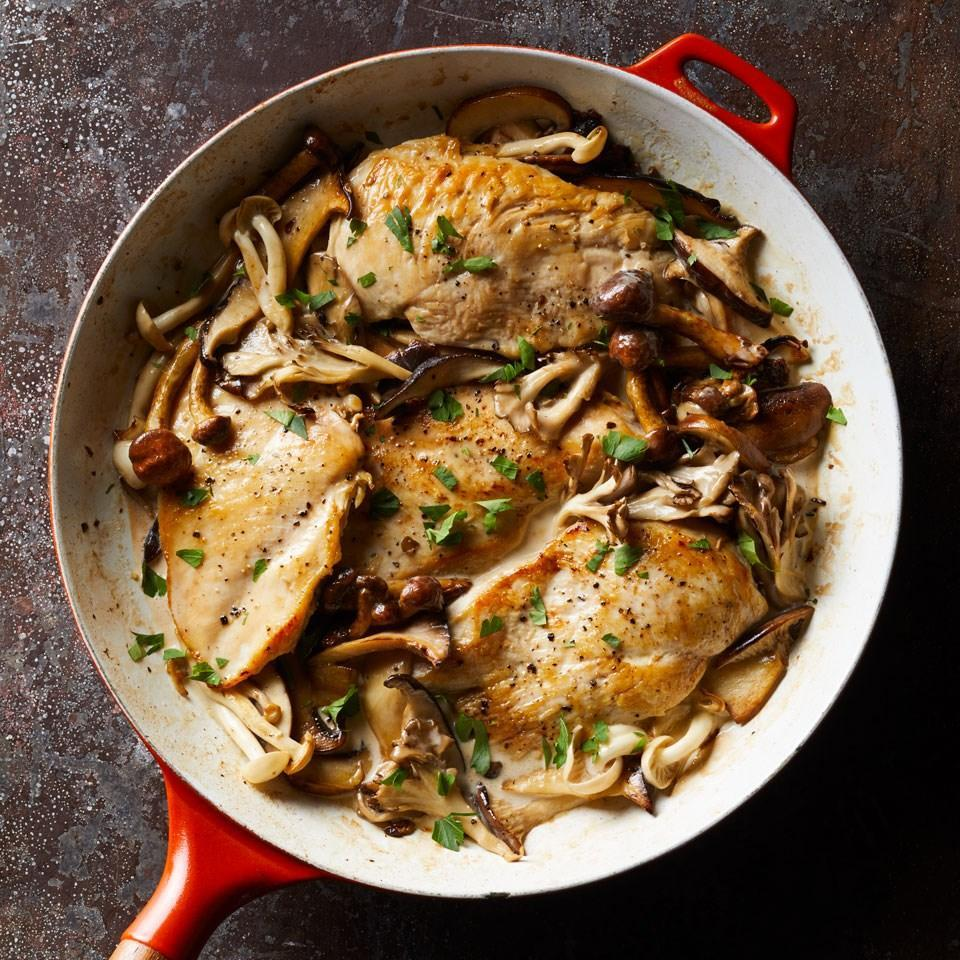 <p>Whether you scored wild mushrooms at the farmers' market, found cultivated maitake or shiitake at the supermarket or just have some baby bellas on hand, this healthy creamy chicken recipe is delicious with any of them. Serve over whole-wheat egg noodles or mashed potatoes.</p>