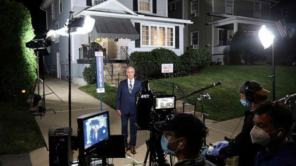 PHOTO: Sen. Bob Casey speaks in support of Democratic presidential candidate Joe Biden, outside Biden's childhood home as part of the Democratic National Convention, in Scranton, Pa., Aug 18, 2020. (Jake Danna Stevens/The Times-Tribune via AP)