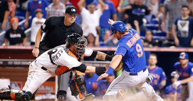5-Year Marliniversary: Ozuna caps Marlins' win over Mets with rocket throw to plate