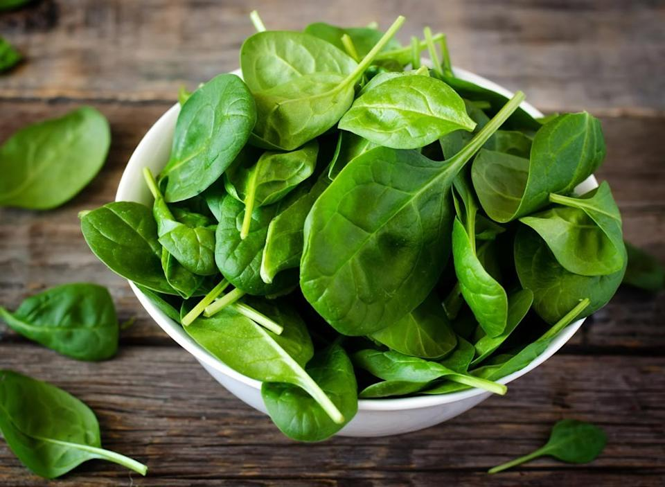 raw spinach in a bowl