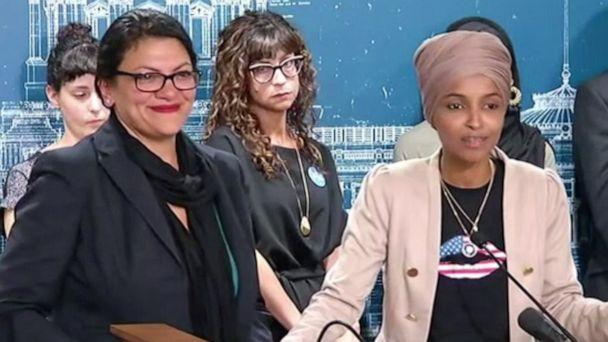 PHOTO: Rep. Rashida Tlaib and Rep. Ilhan Omar hold press conference on the ban preventing them from traveling to Israel, Aug. 18, 2019, in St Paul, Minn. (KSTP)