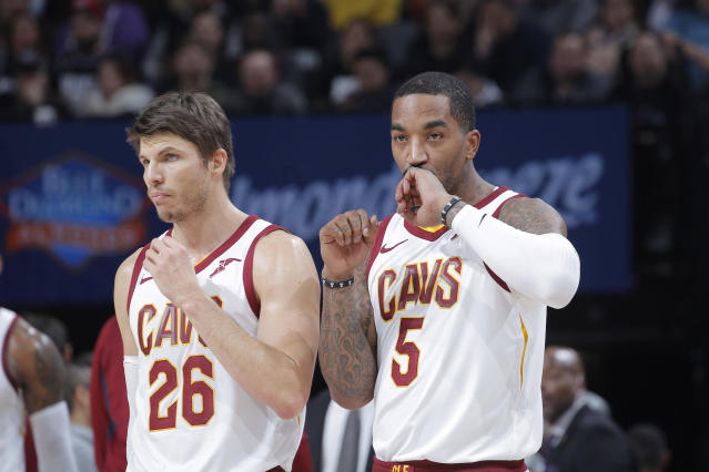 "<a class=""link rapid-noclick-resp"" href=""/nba/players/3754/"" data-ylk=""slk:Kyle Korver"">Kyle Korver</a> and J.R. Smith are always looking to get hot. (Getty Images)"