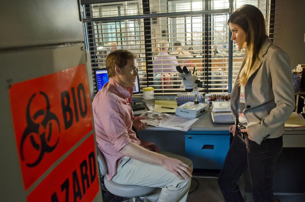 "Jennifer Carpenter as Debra Morgan and Michael C. Hall as Dexter Morgan in the ""Dexter"" episode, ""Chemistry."""