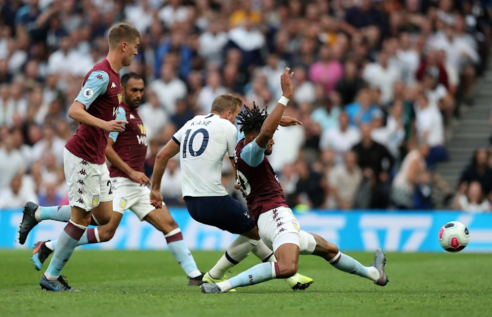 LONDON, ENGLAND - AUGUST 10: Harry Kane of Tottenham Hotspur scores his team's second goal during the Premier League match between Tottenham Hotspur and Aston Villa at Tottenham Hotspur Stadium on August 10, 2019 in London, United Kingdom. (Photo by Tottenham Hotspur FC/Tottenham Hotspur FC via Getty Images)