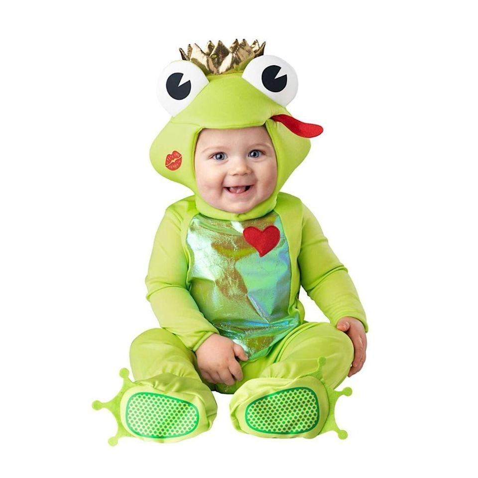 """<p><strong>Spirit Halloween</strong></p><p>spirithalloween.com</p><p><strong>$29.99</strong></p><p><a href=""""https://go.redirectingat.com?id=74968X1596630&url=https%3A%2F%2Fwww.spirithalloween.com%2Fproduct%2Fbaby-frog-prince-costume%2F215055.uts&sref=https%3A%2F%2Fwww.bestproducts.com%2Ffashion%2Fnews%2Fg1709%2Fbaby-halloween-costumes%2F"""" rel=""""nofollow noopener"""" target=""""_blank"""" data-ylk=""""slk:Shop Now"""" class=""""link rapid-noclick-resp"""">Shop Now</a></p><p>Kiss this cute frog, and he might just turn into a prince! As if you needed another reason to smooch those chubby cheeks. </p><p>Your happy baby will have so much fun hopping around in this cozy jumpsuit, featuring a funny frog-faced hood with an attached crown, plus skid-resistant foot covers for added safety.</p>"""