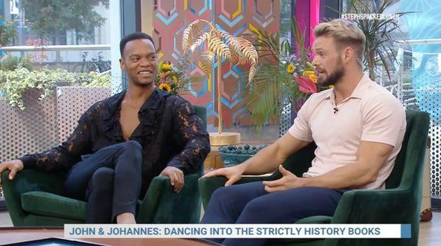 Johannes Radebe and John Whaite on Steph's Packed Lunch (Photo: Channel 4)