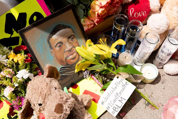 A memorial for George Floyd is seen on Wednesday in Minneapolis. (Photo by Steel Brooks/Anadolu Agency via Getty Images)