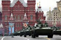 Russian military vehicles roll across Moscow's Red Square