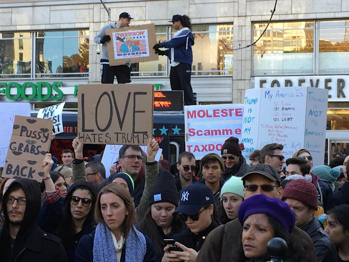 <p>Thousands of protestoers converge on Union Square in New York City to protest against President-elect Donald Trump, Saturday, Nov. 12, 2016, in New York. (Stephen Trupp/starmaxinc.com/AP) </p>