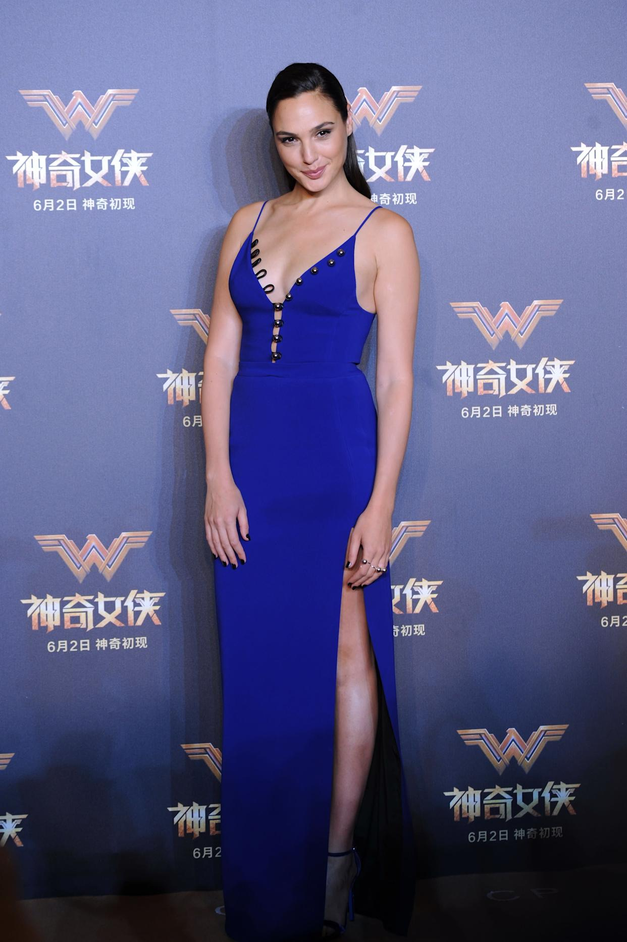 "At a press conference for ""Wonder Woman."""