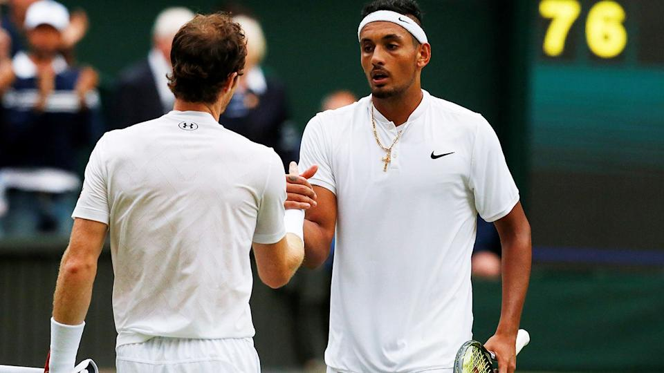 Pictured here, Andy Murray and Nick Kyrgios at Wimbledon in 2016.