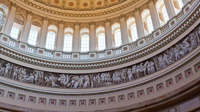 Fragment of the inside of dome of the Capitol Building in Washington DC.
