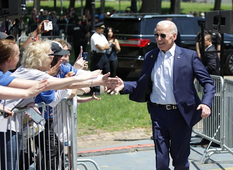 Former US vice president Joe Biden arrives for the kick off of his presidential election campaign in Philadelphia, Pennsylvania, on May 18, 2019 (AFP Photo/Dominick Reuter)